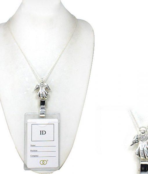 Angel Lanyard Badge Id Holder Silver Crystal Heart