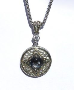 Pendant Antique Black Diamond Look Crystal Necklace