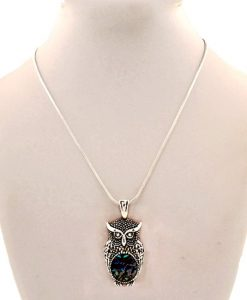 Owl Necklace Pendant Abalone Silver Tone