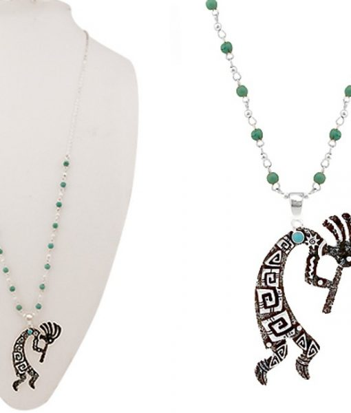 Kokopelli Art Pendant Necklace Silver Turquoise