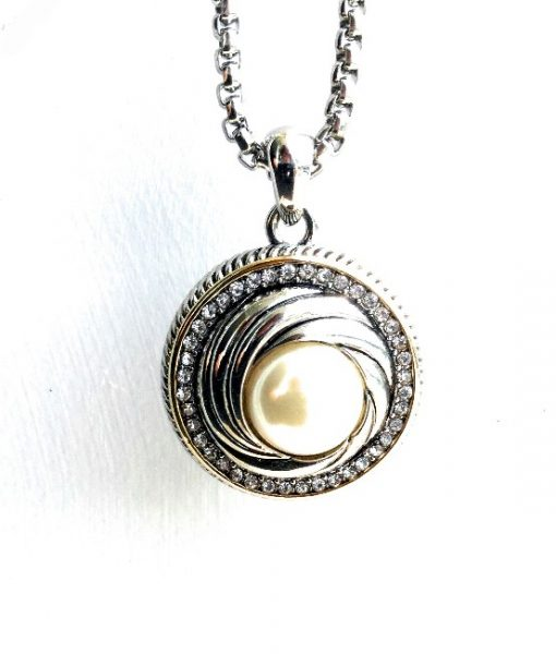 Pearl Pendant Necklace Art Deco Swirl With Pave Cz