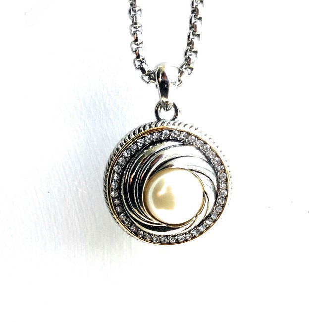 A pearl pendant necklace art deco swirl with pave cz n41013 pearl pendant necklace art deco swirl with pave cz audiocablefo