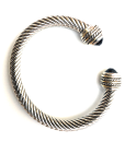 Black Cable Cuff Bracelet