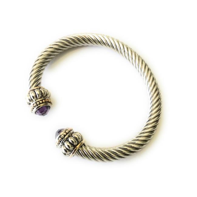 1ceb1102866 Amethyst Cable Cuff Bracelet B0804 – itsalotalike.com Always Unique ...